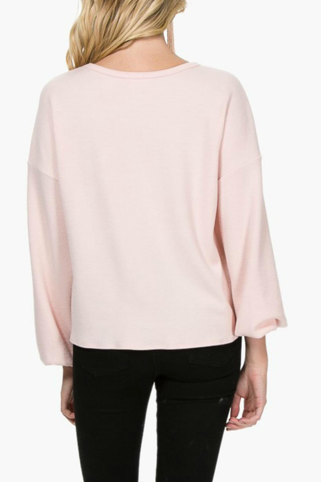 Everly Front-Tie Knit Top - Back Cropped Image
