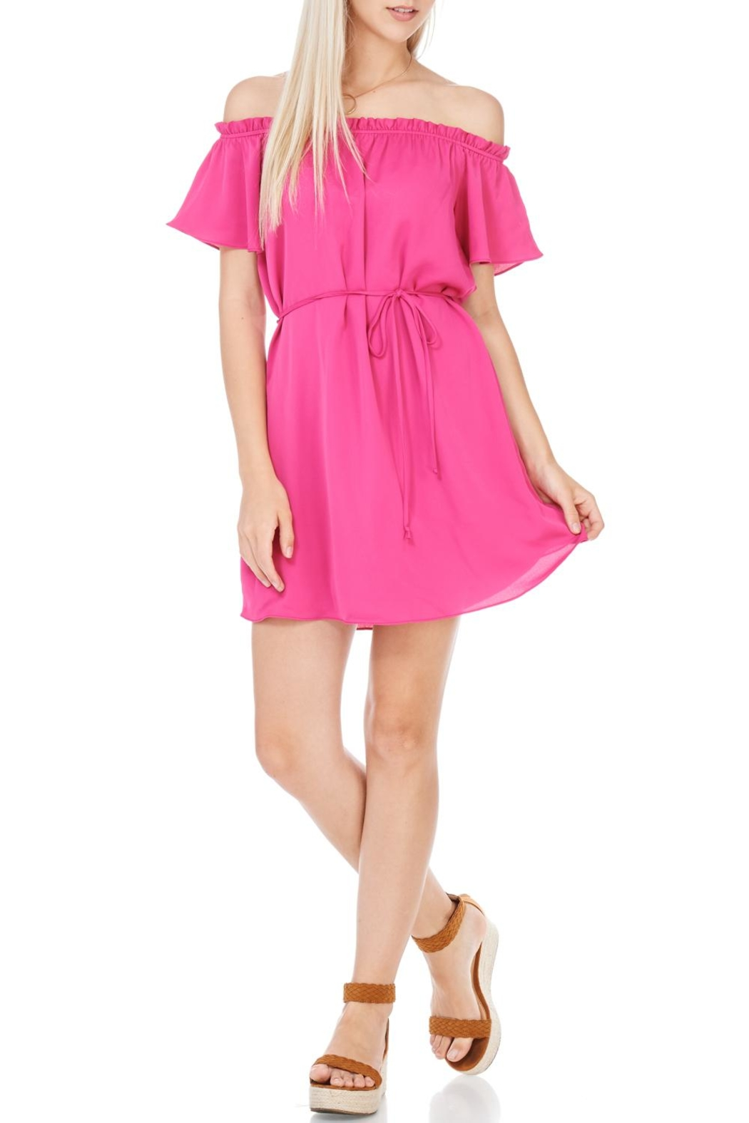 Everly Fuchsia Dress - Front Cropped Image