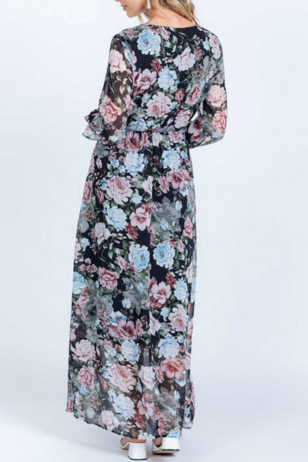 Everly Full-Bloom Surplice Maxi-Dress - Front Full Image
