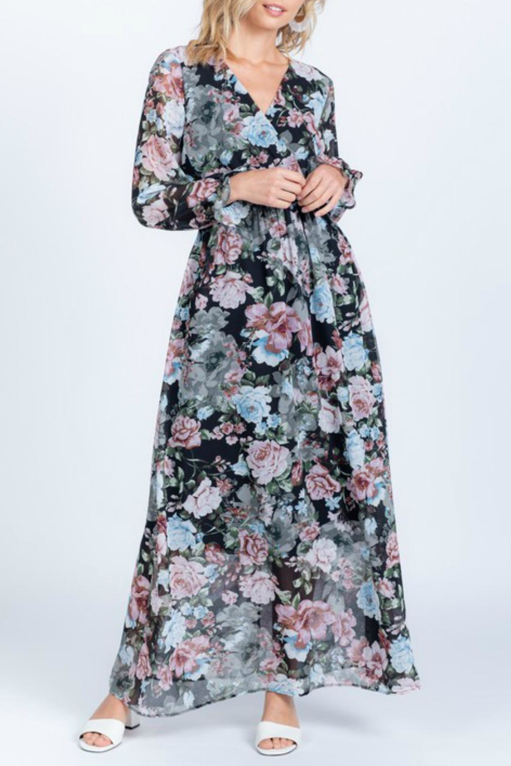 Everly Full-Bloom Surplice Maxi-Dress - Side Cropped Image