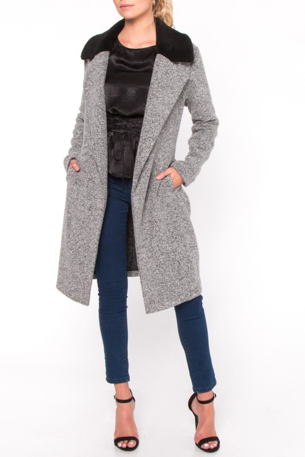 Everly Fur Collar Coat - Front Cropped Image