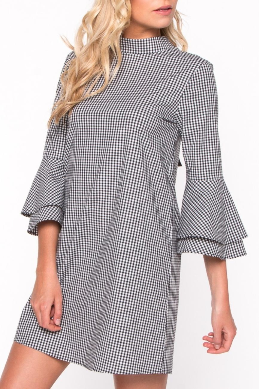 Everly Gingham Bell Sleeve Dress - Back Cropped Image