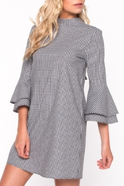 Everly Gingham Bell Sleeve Dress - Back cropped