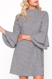 Everly Gingham Bell Sleeve Dress - Front cropped