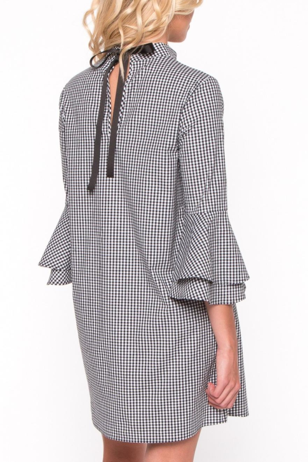 Everly Gingham Bell Sleeve Dress - Side Cropped Image
