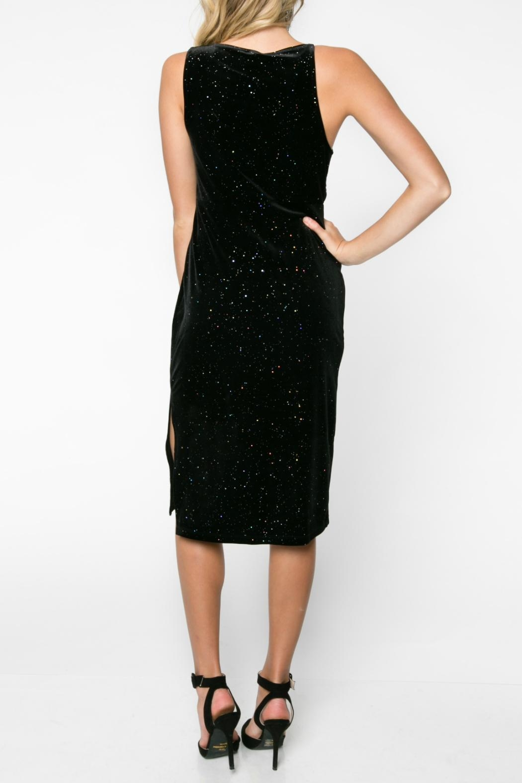 Everly Glitter Velvet Bodycon Dress - Side Cropped Image
