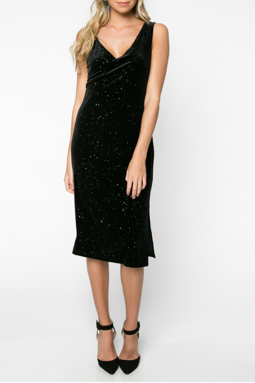 Everly Glitter Velvet Bodycon Dress - Main Image