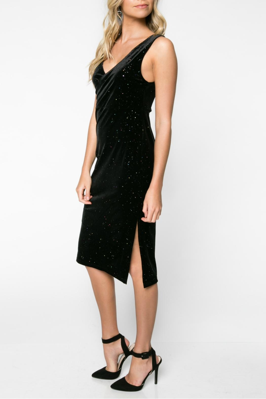 Everly Glitter Velvet Bodycon Dress - Front Full Image