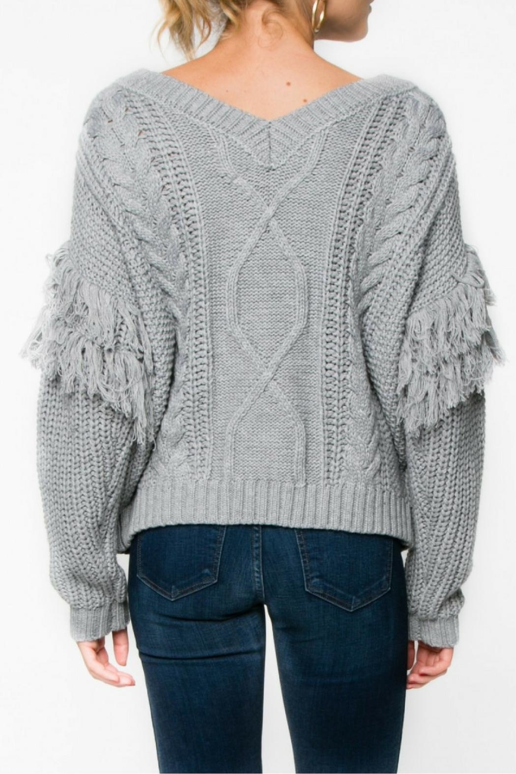 Everly Gray Fringe Sweater - Side Cropped Image