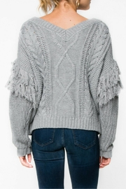Everly Gray Fringe Sweater - Side cropped