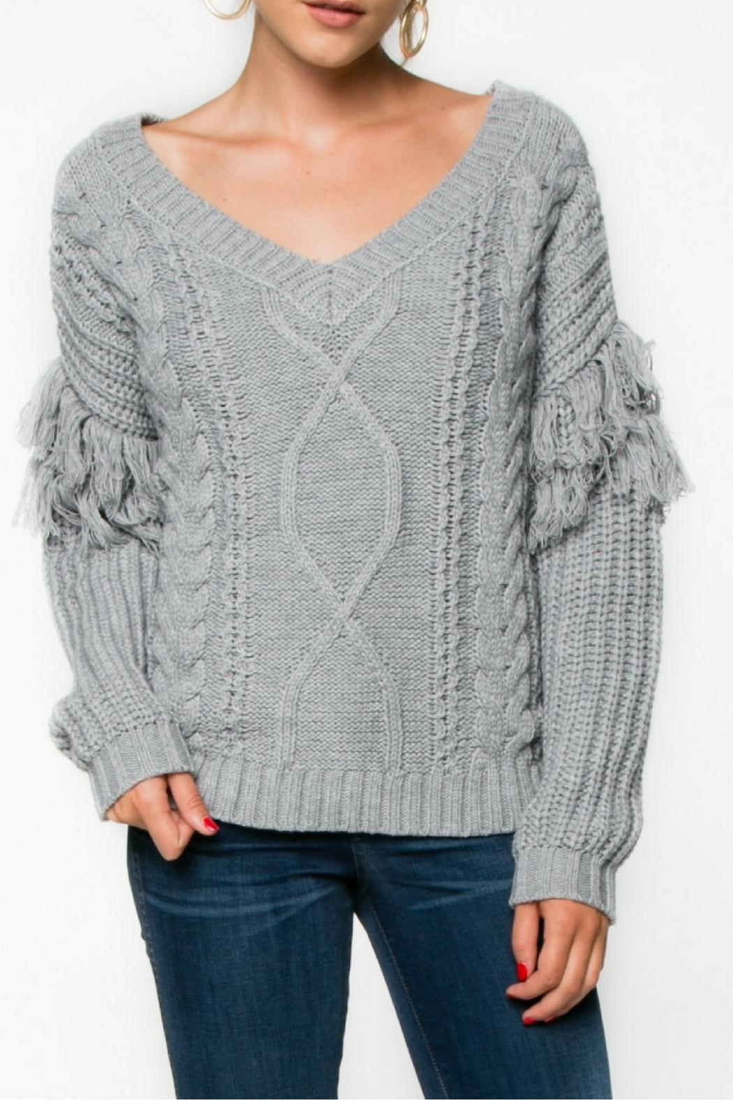 Everly Gray Fringe Sweater - Main Image