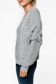 Everly Gray Fringe Sweater - Front full body