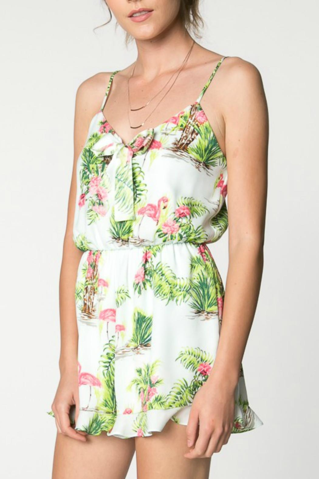 Everly Hawaiian Print Romper - Side Cropped Image