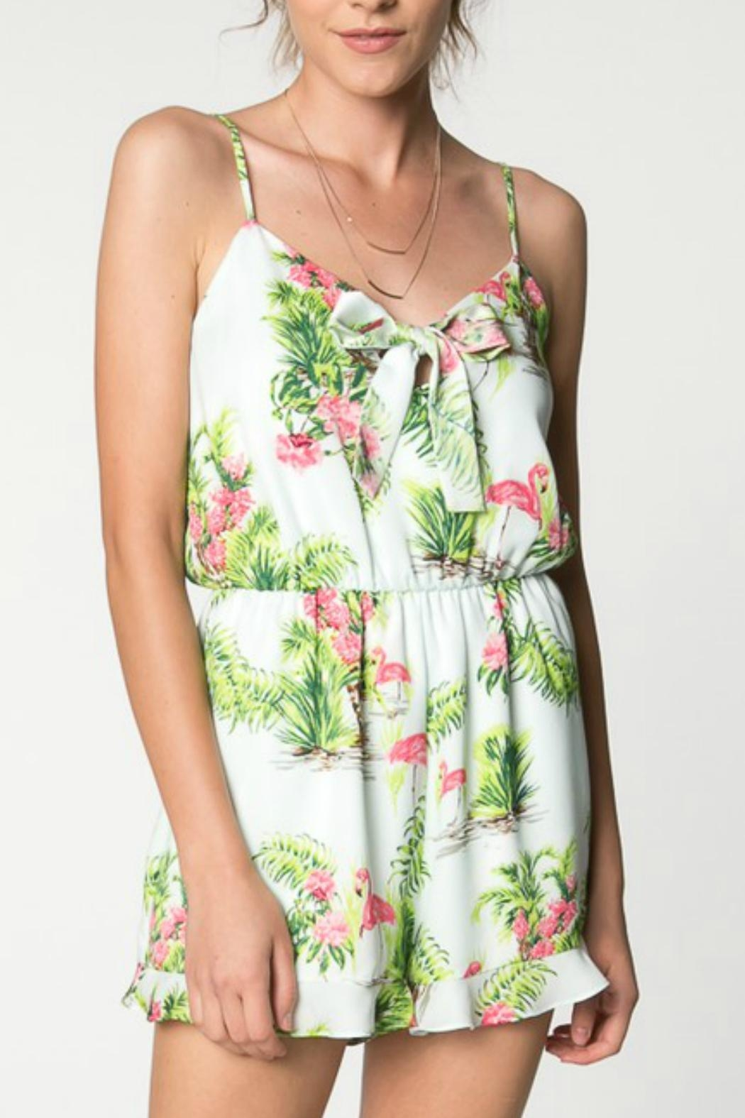 Everly Hawaiian Print Romper - Front Cropped Image