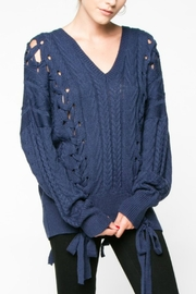 Everly Indigo Lace Up Sweater - Front cropped