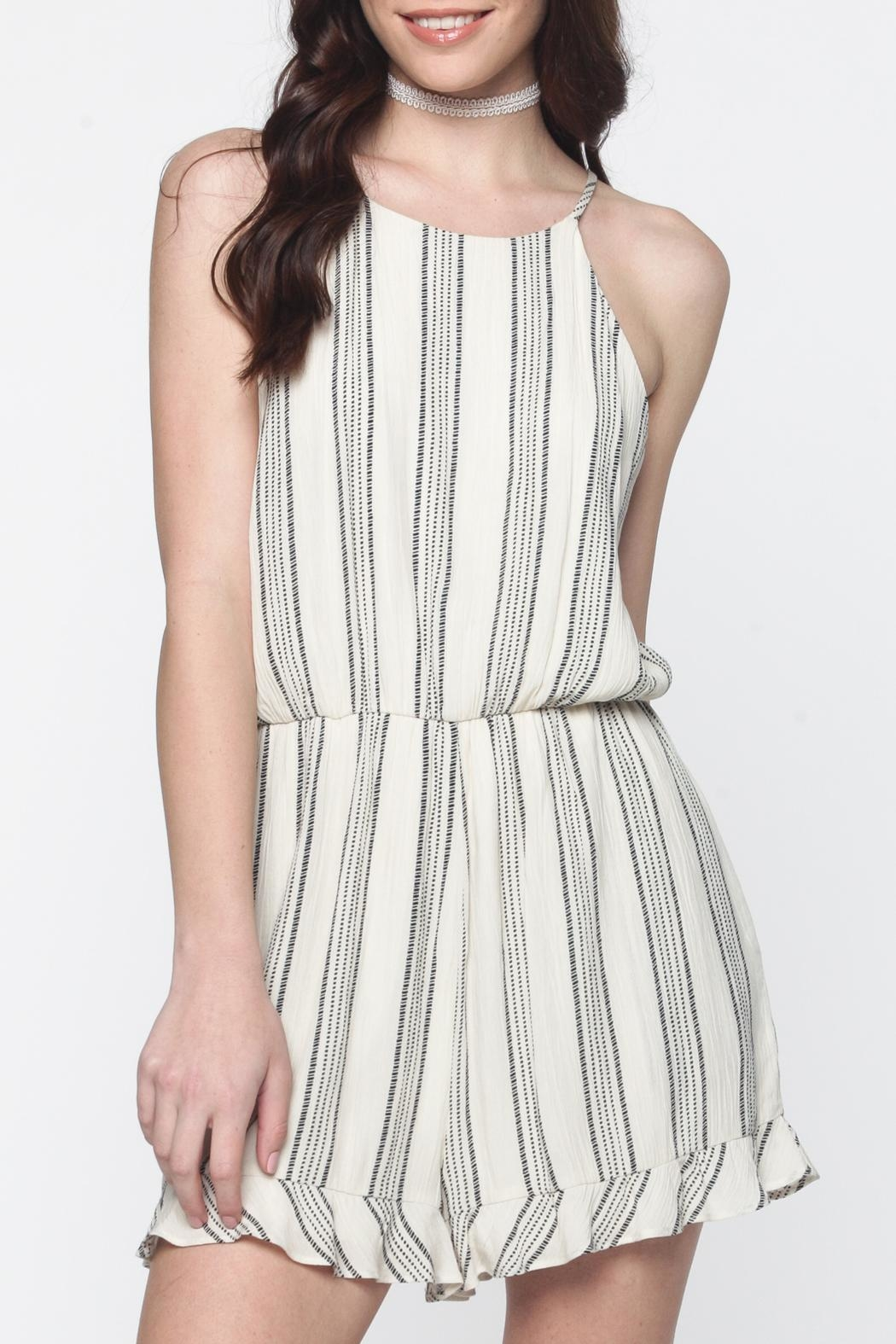Everly Ivory Striped Romper - Main Image