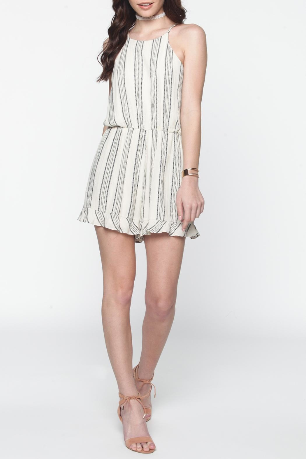 Everly Ivory Striped Romper - Side Cropped Image