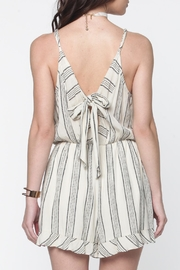 Everly Ivory Striped Romper - Front full body