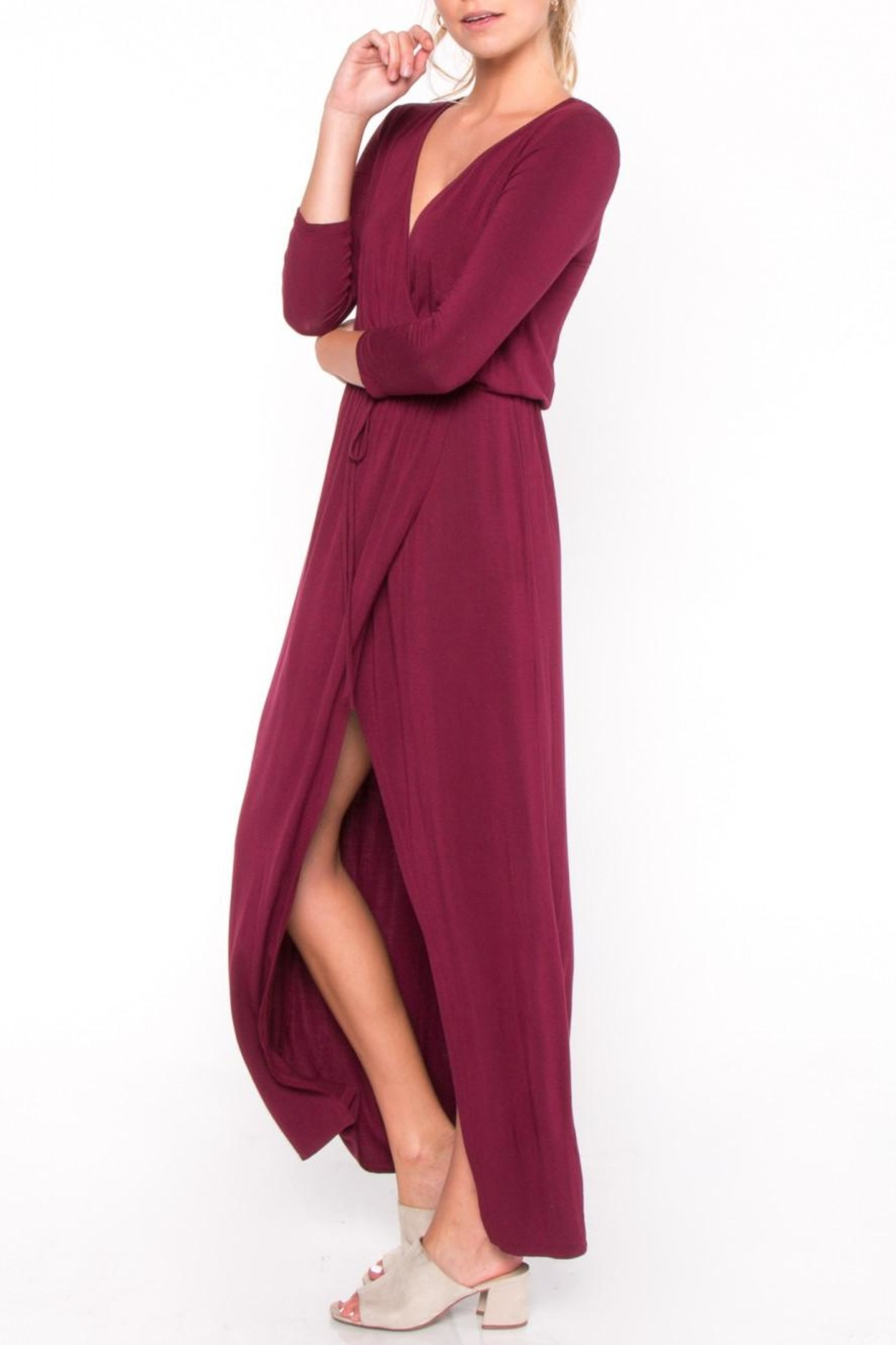 Everly Jersey Overlay Maxi Dress - Side Cropped Image