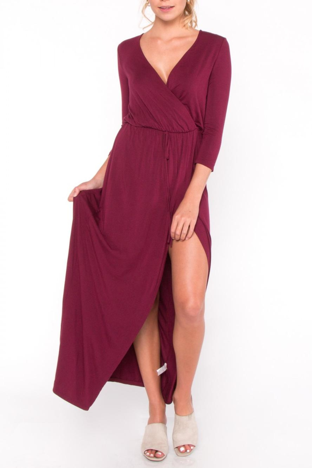 Everly Jersey Overlay Maxi Dress - Front Full Image