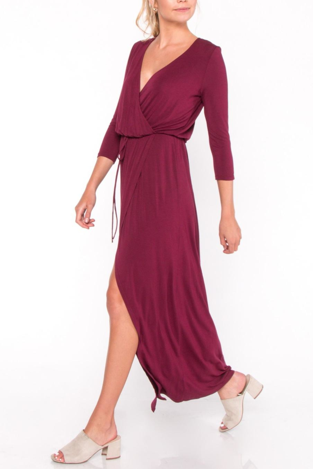 Everly Jersey Overlay Maxi Dress - Front Cropped Image