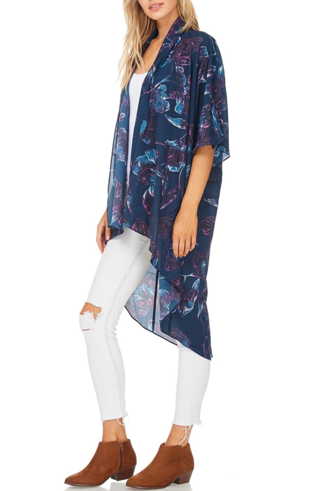 Everly Lightweight Teal Kimono - Side Cropped Image