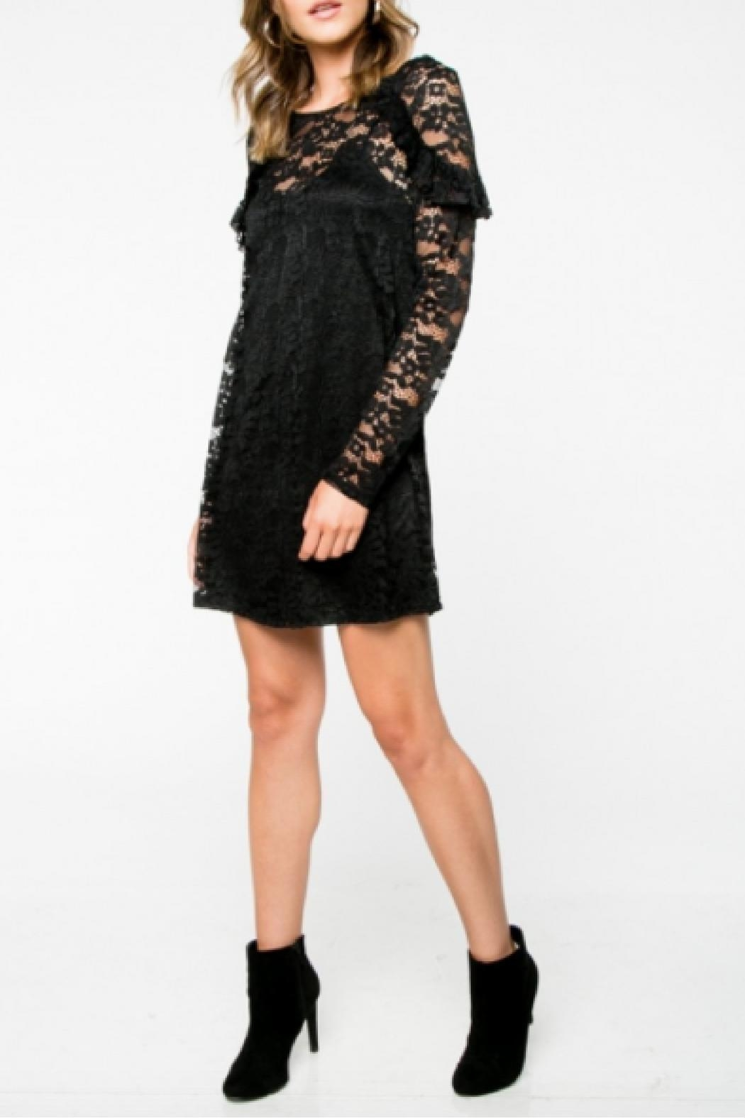 Everly Lace Black Dress - Side Cropped Image