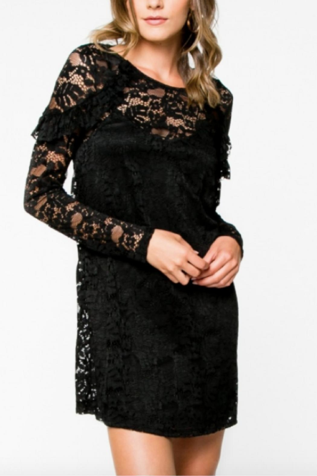 Everly Lace Black Dress - Front Cropped Image