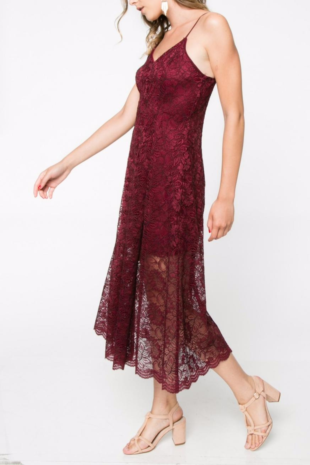 Everly Lace Midi Dress - Front Full Image