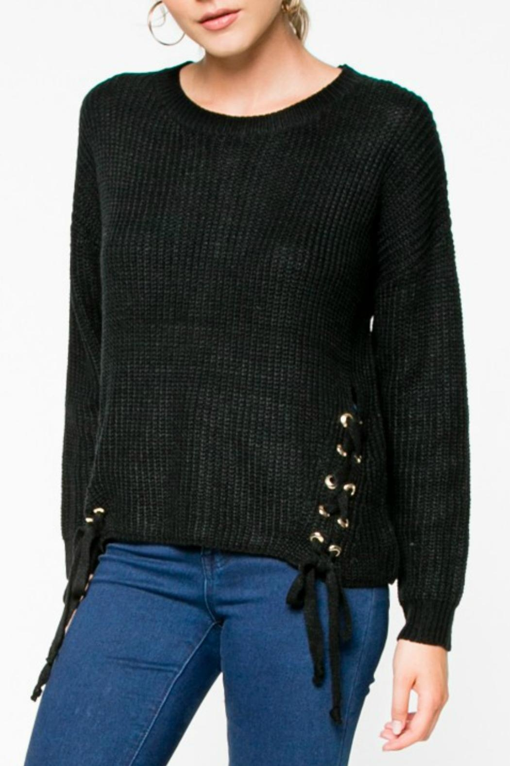 Everly Lace-Up Knit Sweater - Main Image