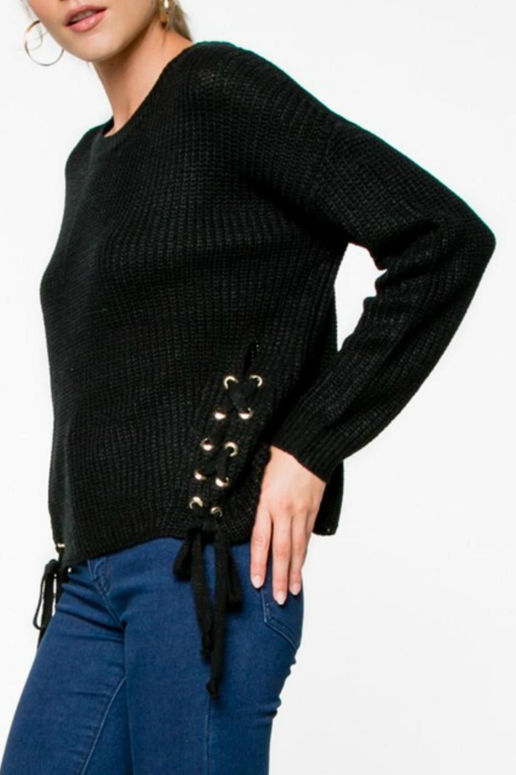 Everly Lace-Up Knit Sweater - Front Full Image