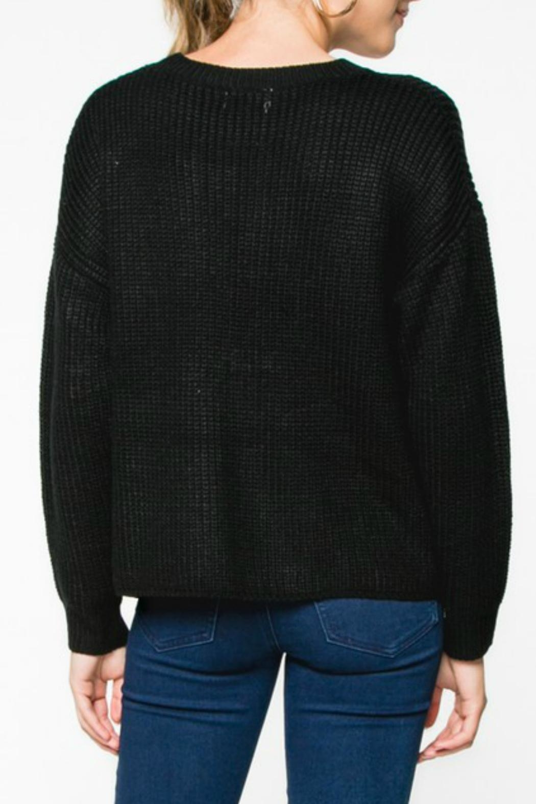 Everly Lace-Up Knit Sweater - Side Cropped Image