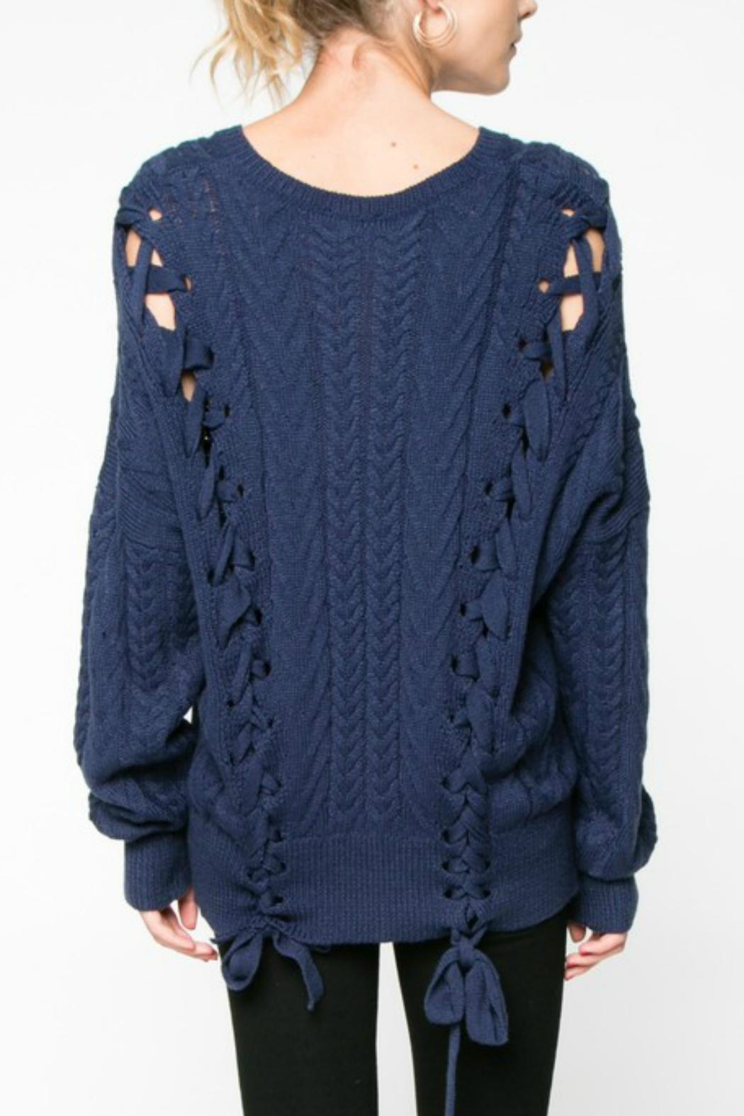 Everly Lace Up Sweater - Front Full Image