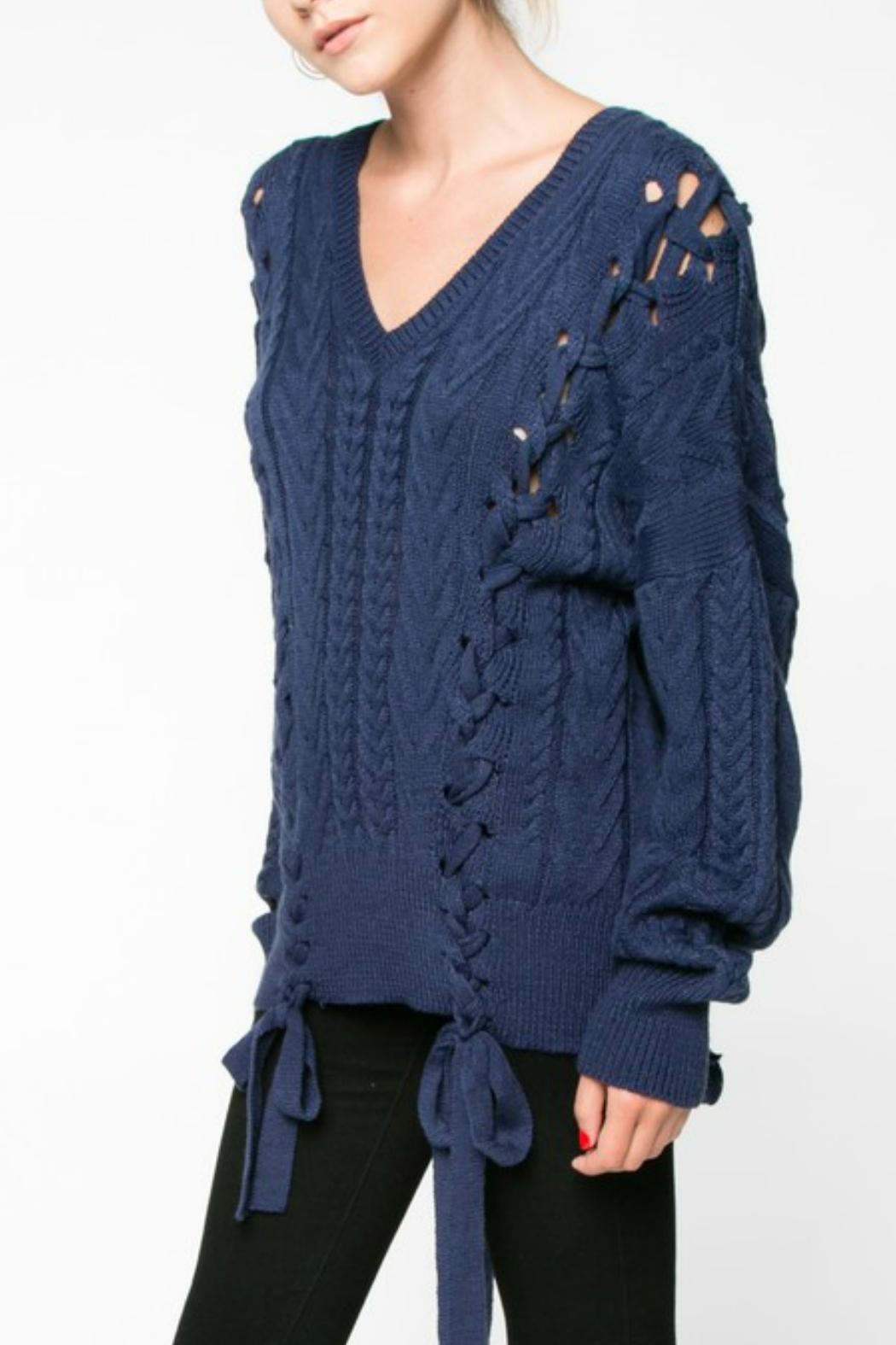 Everly Lace Up Sweater - Side Cropped Image