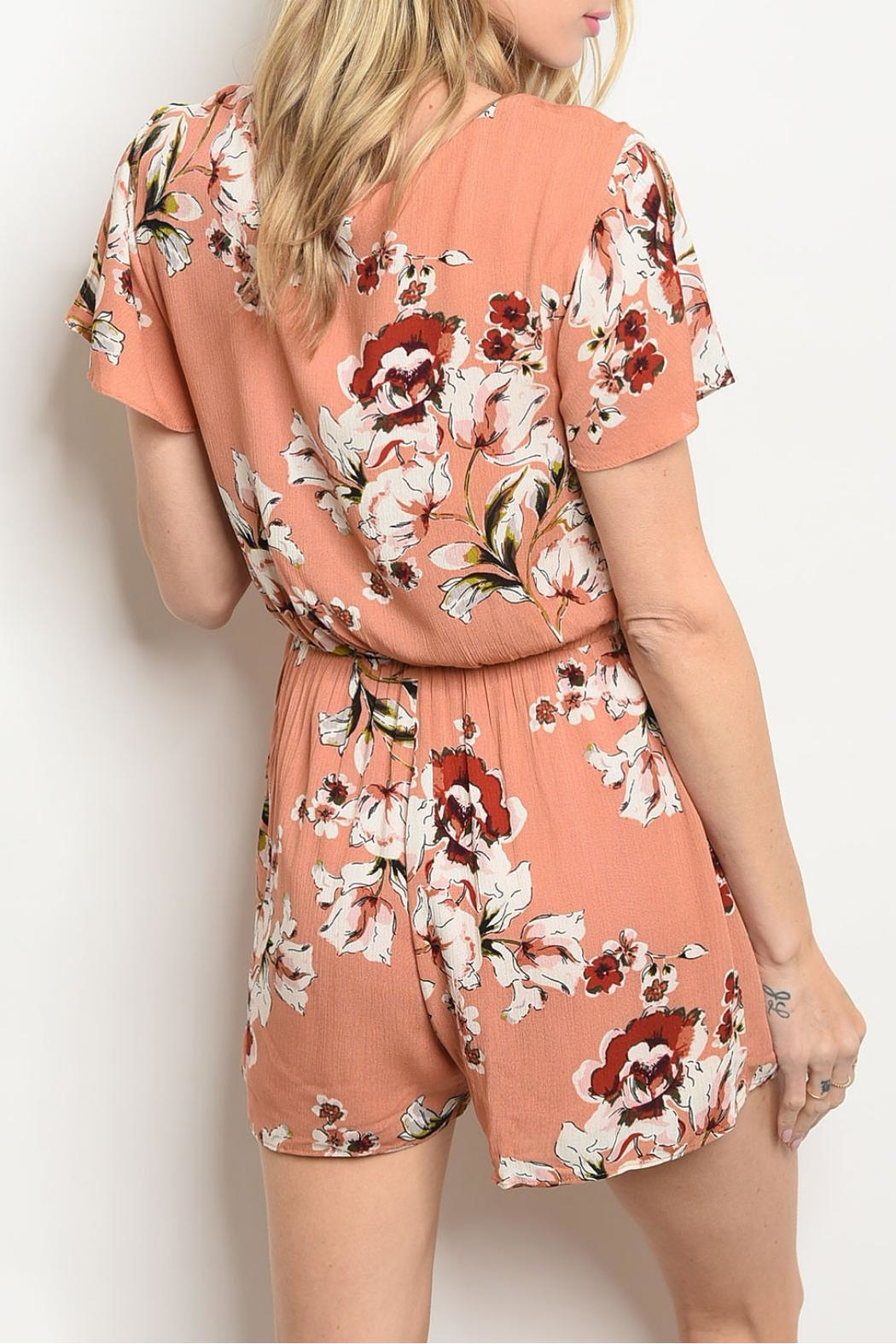 Everly Mauve Floral Romper - Front Full Image
