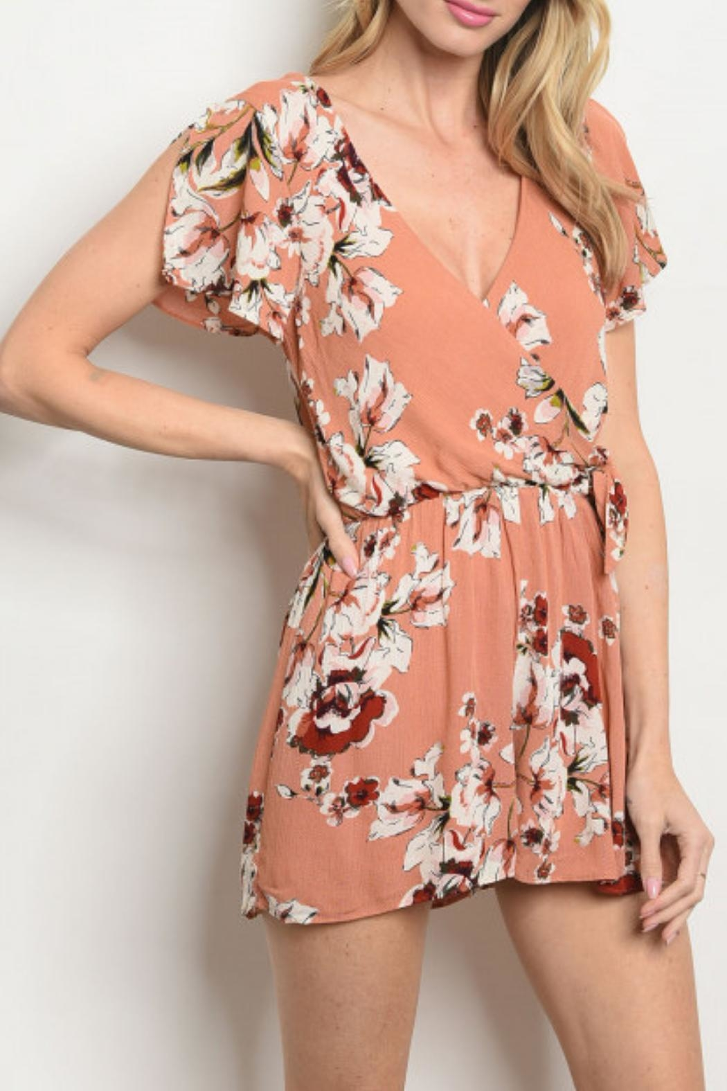 Everly Mauve Floral Romper - Main Image