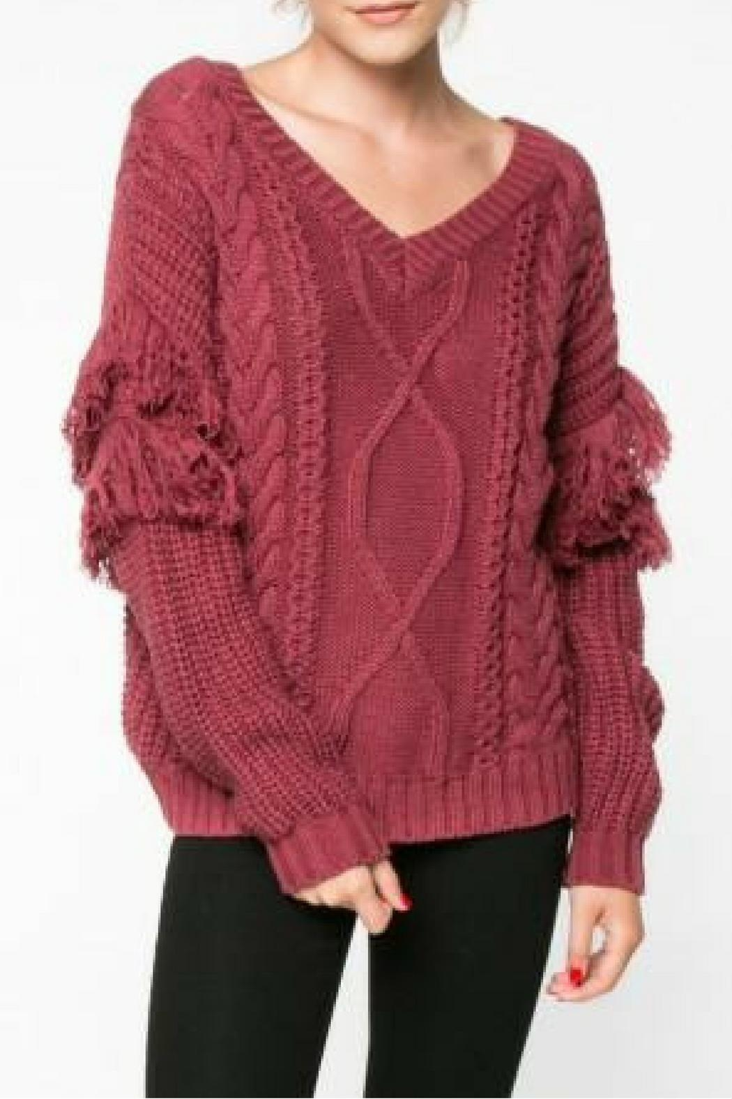 Everly Mauve Fringe Sweater - Main Image