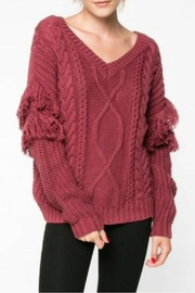 Everly Mauve Fringe Sweater - Front cropped