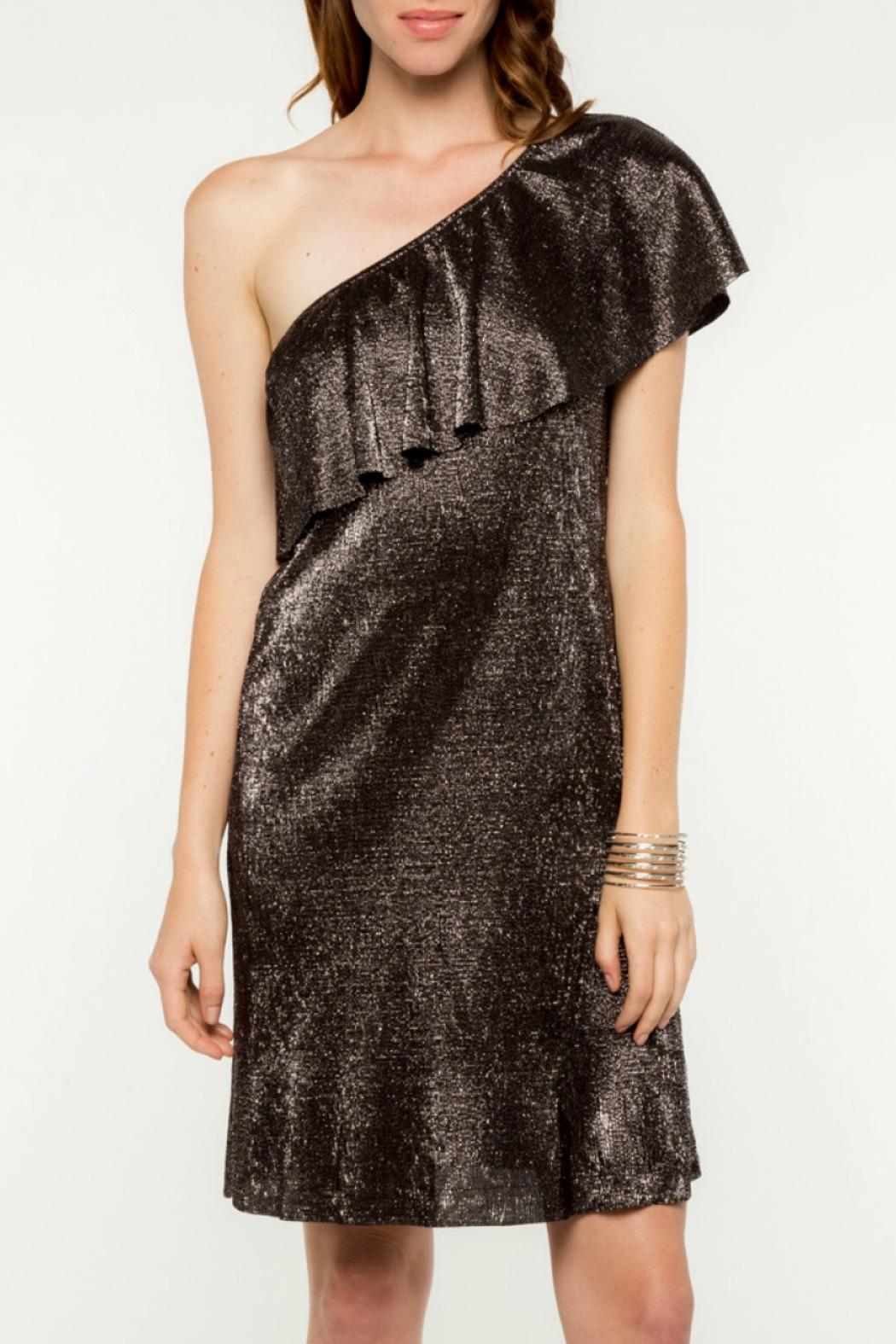 Everly Merry Metallic Dress - Front Cropped Image