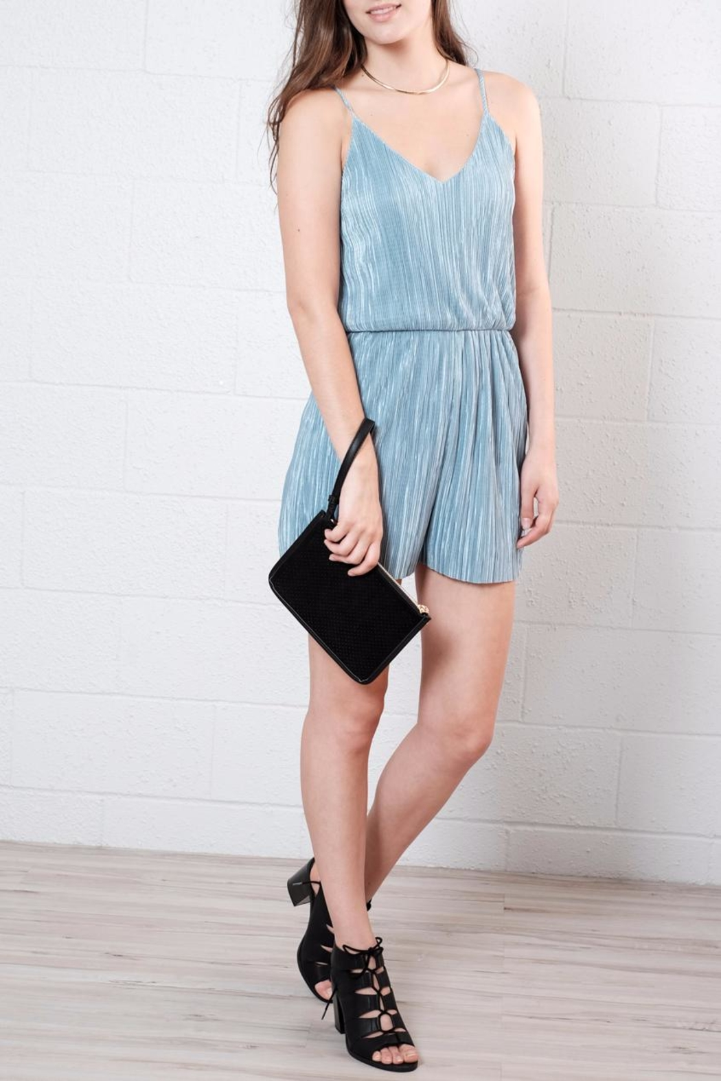 Everly Micro Pleated Romper - Front Cropped Image
