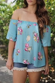 Everly Minty Floral Off-Shoulder - Front full body