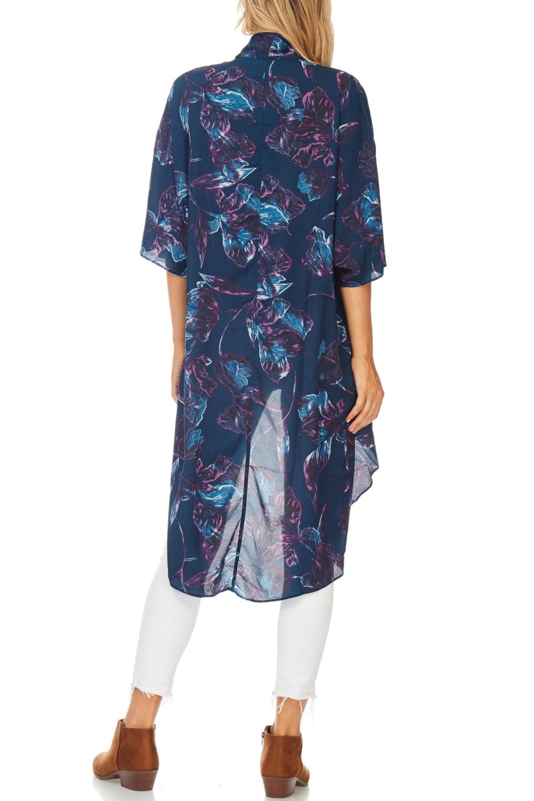 Everly Navy Floral Kimono - Front Full Image
