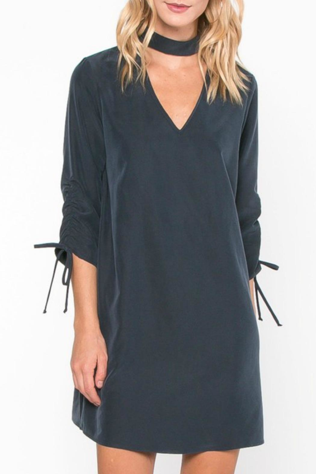 Everly Navy Mock Dress - Front Cropped Image