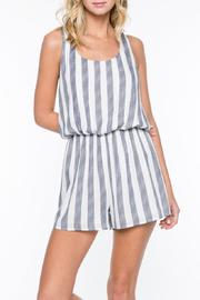 Everly Navy Striped Romper - Product Mini Image