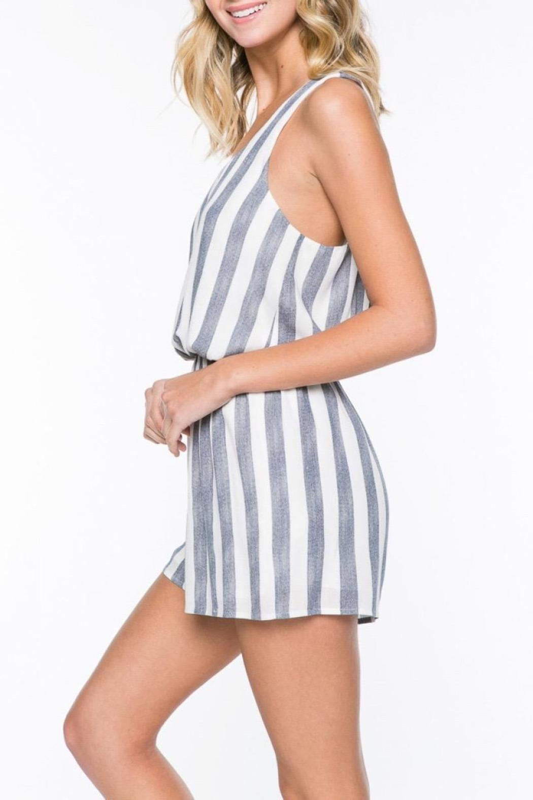 be837bdb42b Everly Navy Striped Romper from Los Angeles by Such A Time — Shoptiques