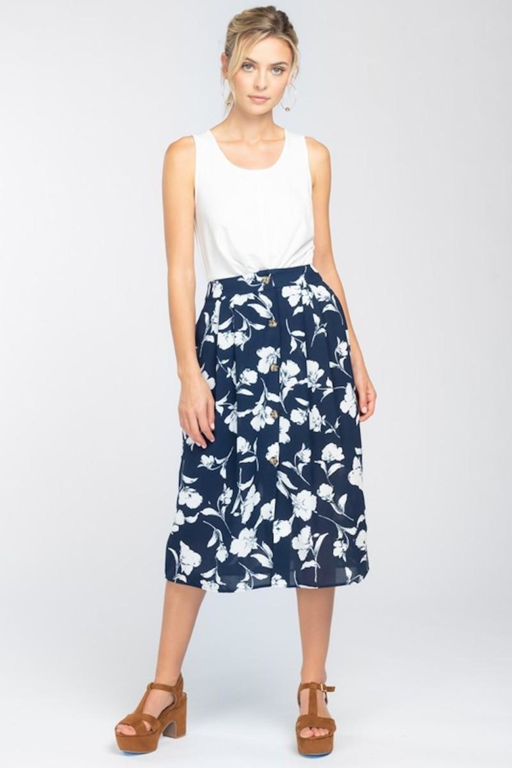 Everly Navy With White Floral Midi Skirt - Main Image