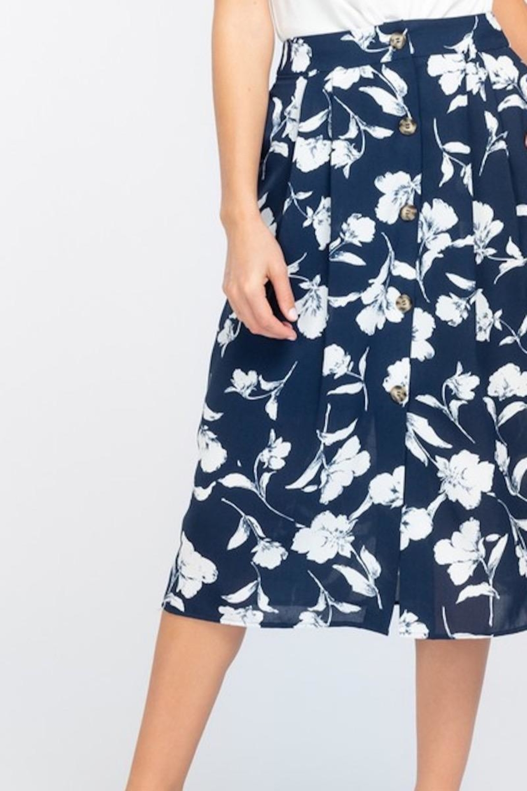 Everly Navy With White Floral Midi Skirt - Front Full Image