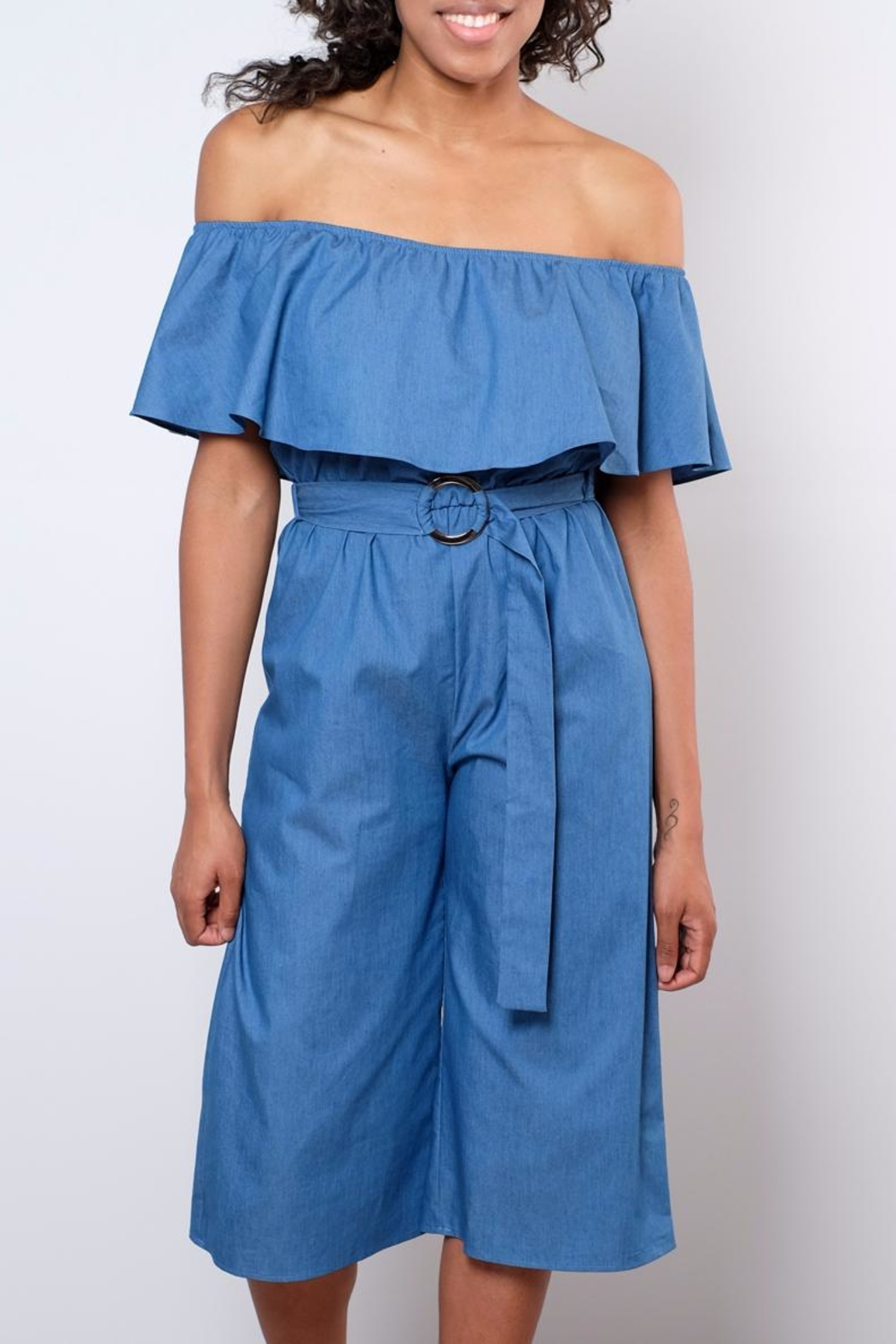 Everly Chambray Jumpsuit - Front Full Image