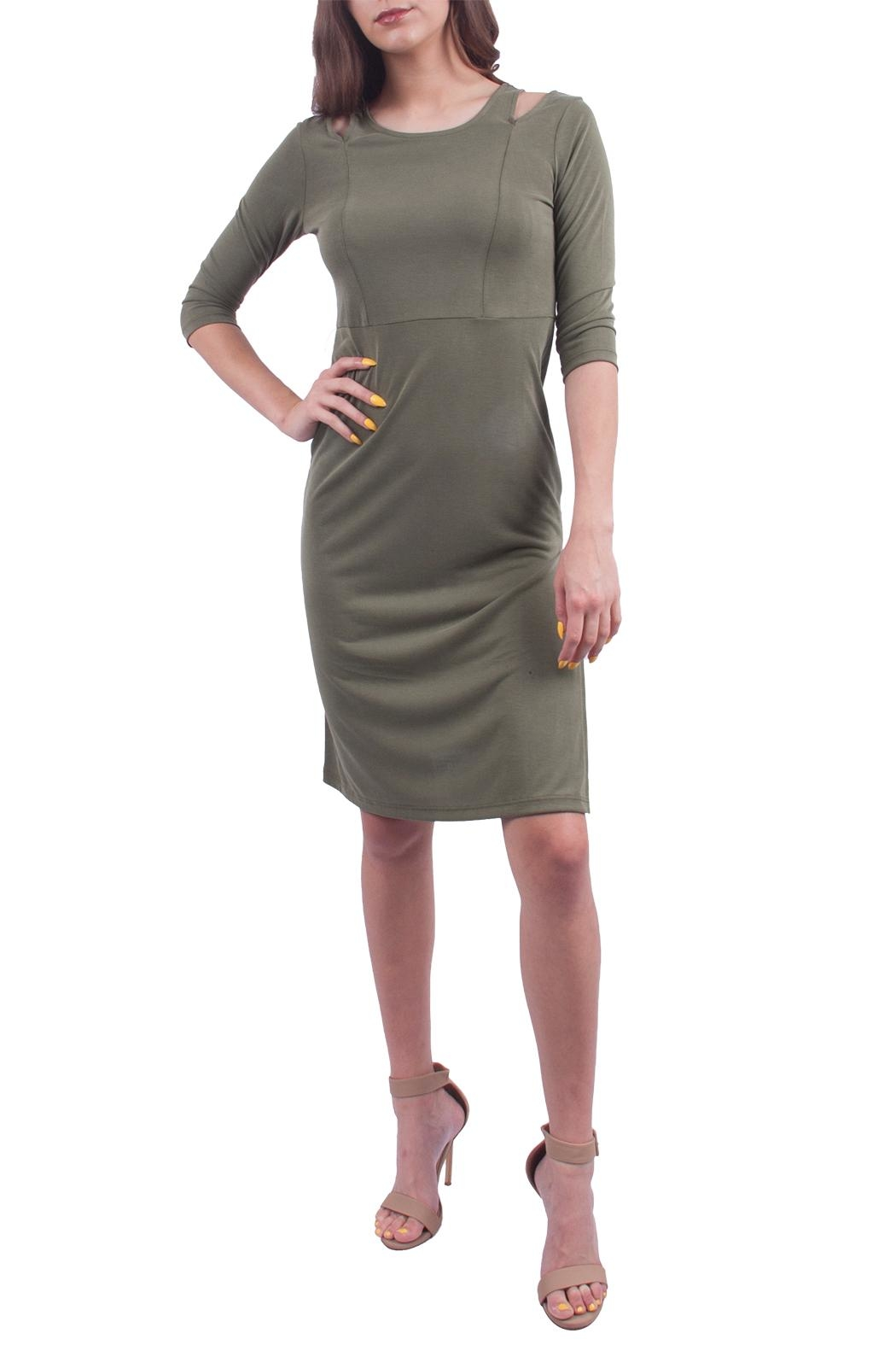 Everly Olive Shoulder Dress - Main Image
