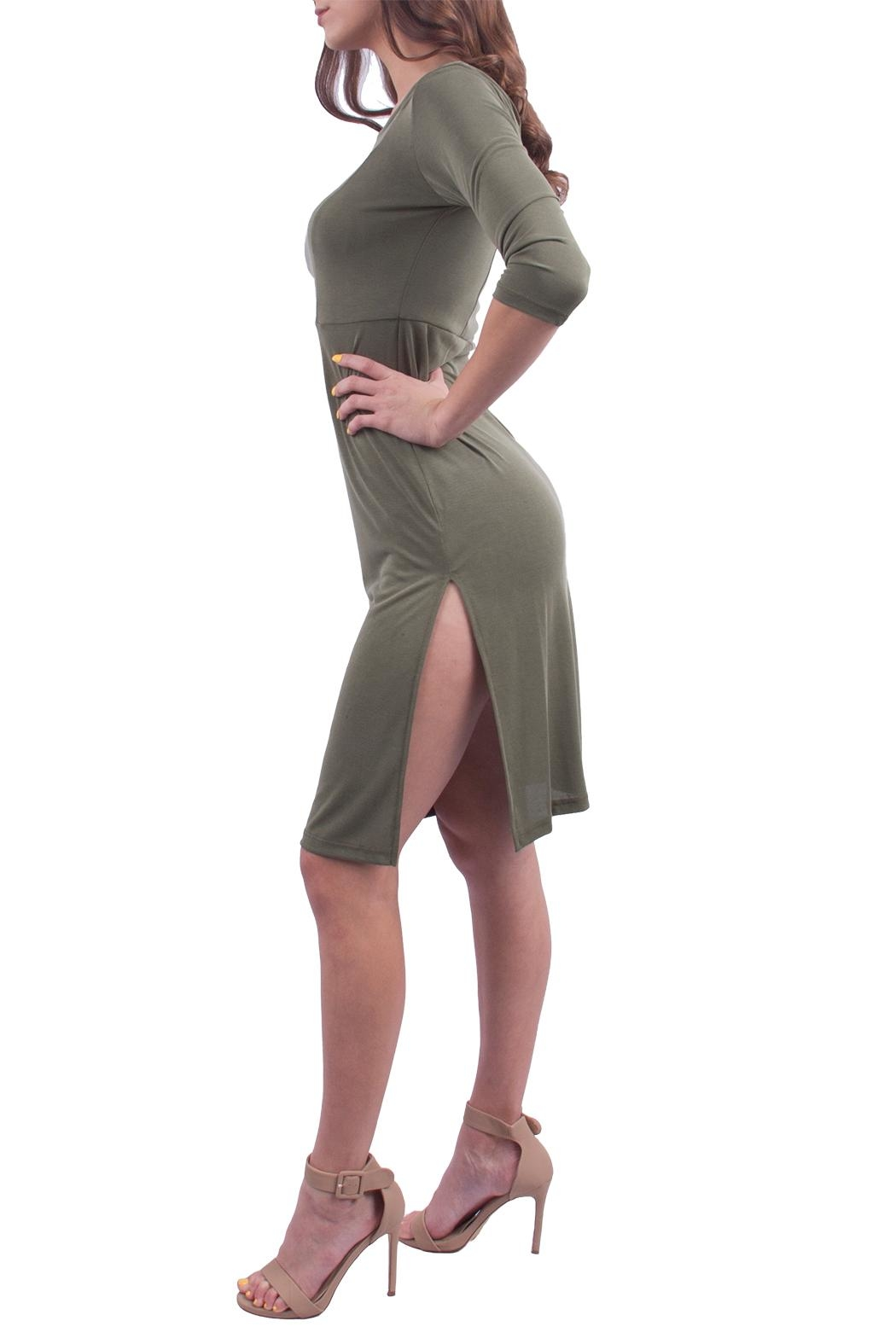 Everly Olive Shoulder Dress - Front Full Image